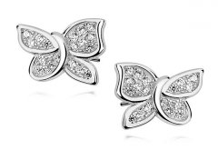 Stříbrné náušnice - motýlci se zirkony