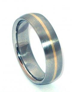 Ocelový snubní prsten se zlatem ZAU16400