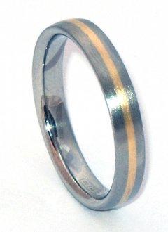 Ocelový snubní prsten se zlatem ZAU14400