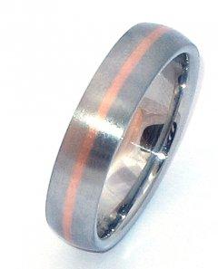 Ocelový snubní prsten se zlatem ZAU15400