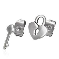 Ocelové náušnice - zámek a klíč