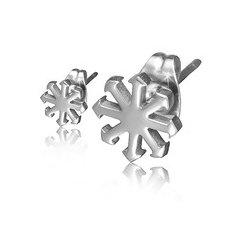 Ocelové náušnice - sněhové vločky