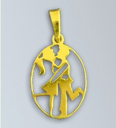 Zlatý přívěsek - znamení Blíženci v oválu