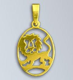 Zlatý přívěsek - znamení Lev v oválu