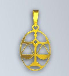 Zlatý přívěsek - znamení Váhy v oválu
