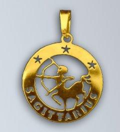 Zlatý přívěsek Střelec - latinský nápis