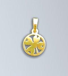 Zlatý přívěsek Čtyřlístek v kruhu