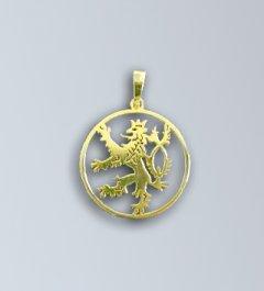Zlatý přívěsek - český lev v kruhu