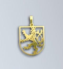Zlatý přívěsek - český lev v pavéze