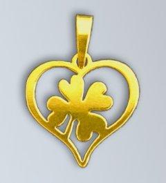 Zlatý přívěsek - Čtyřlístek v srdci