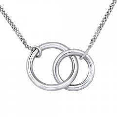 Stříbrný náhrdelník spojené kruhy