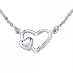 Stříbrný náhrdelník dvojité srdce