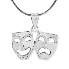 Stříbrný přívěsek divadelní masky