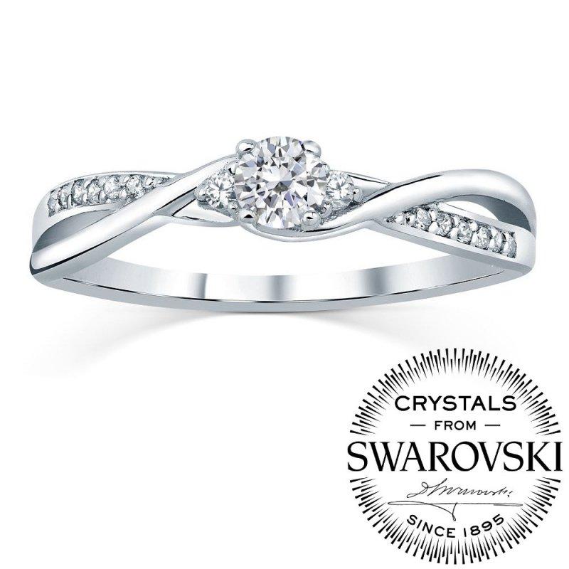 Stříbrný prsten Swarovski Zirconia® s liniemi  9ef0a8f212c