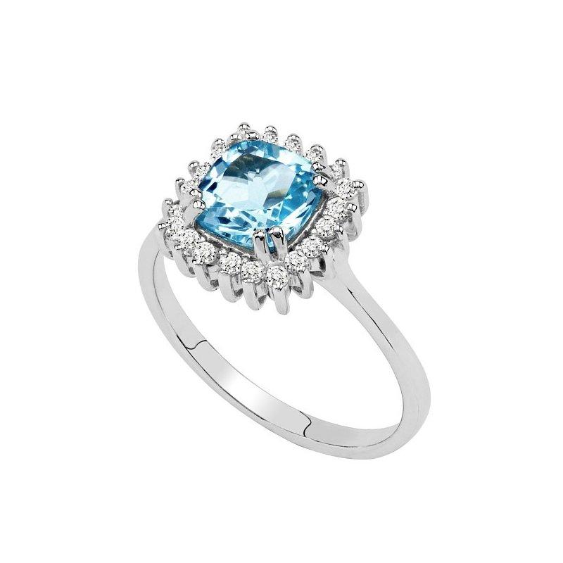1849c5e80 Stříbrný prsten s hranatým topazem a zirkony | Zlato-stříbro.cz
