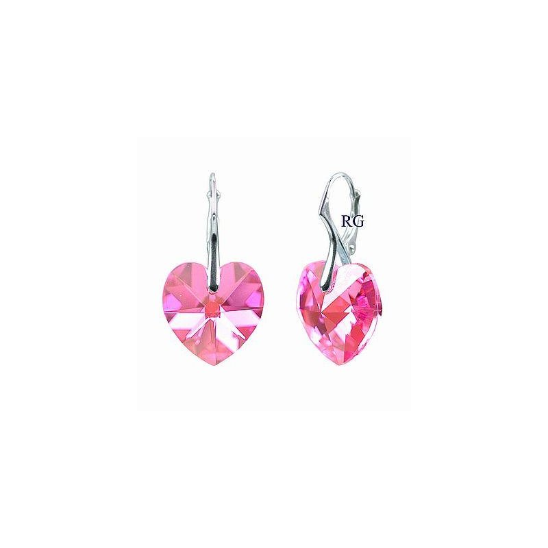 9166aca10 Náušnice Swarovski CRYSTALLIZED™ srdce 18 mm růžová | Zlato-stříbro.cz