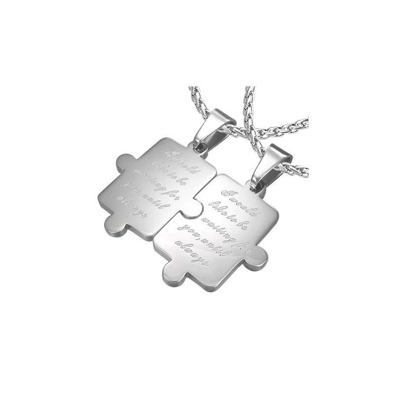 Ocelový přívěsek pro partnery - puzzle s nápisem