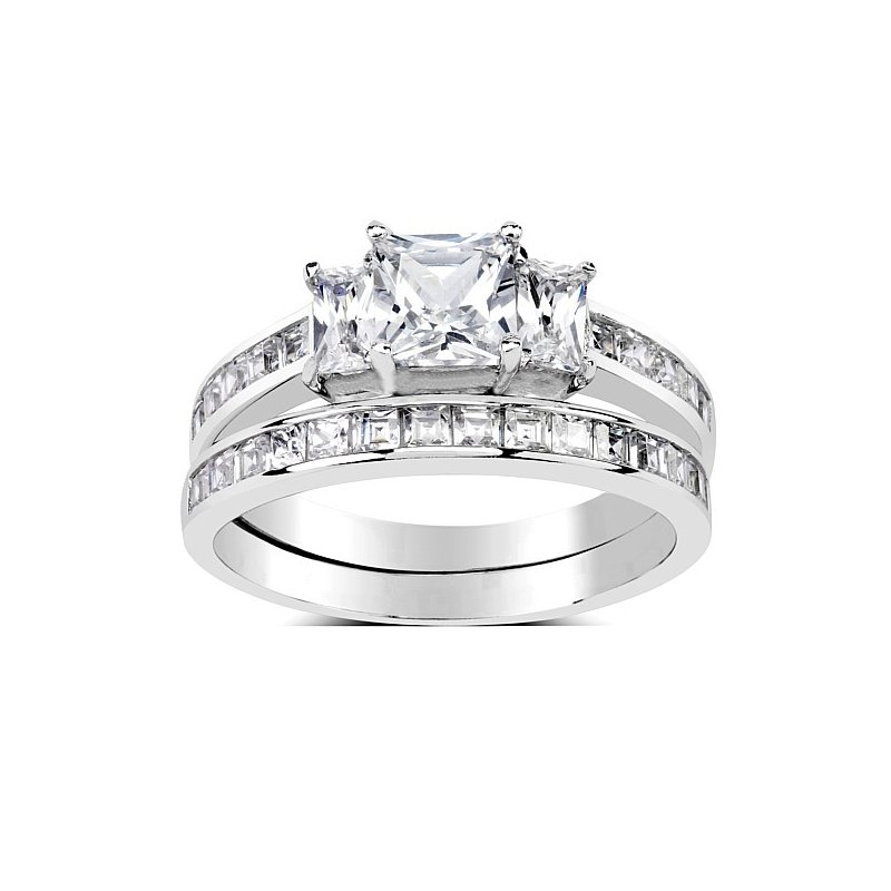 Luxusní dvojitý stříbrný prsten Swarovski Zirconia fbdbf5afc5b